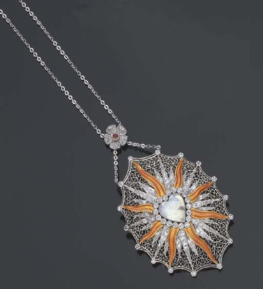 Spilla pendente Belle Epoque in brillanti, smalto e clair-de-lune