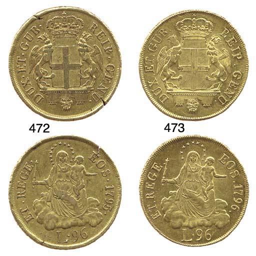 96-Lire, 1796, come prec., corona di 10 stelle, punto dopo la data (CNI.498,1; F.444; Lun.360; M.45.44; MIR.275/3), qSPL