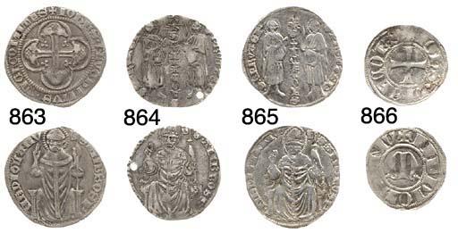 Grosso, 2.251g., +S.GERVASr .S.PROTASr, i due Santi come prec., IOhSVICECOES verticalmente, rov. .S.AMBROSr .MEDIOLANV, Sant'Ambrogio come prec. (B.1450; CNI.73,1; Cr.1; Gn.1), forato, mMB, rara