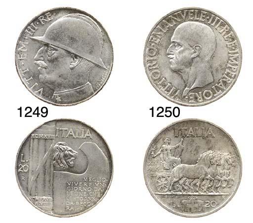 20-Lire, 1928, busto con elmet