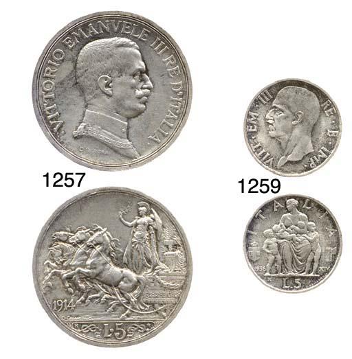 5-Lire, 1914, rov. quadriga br