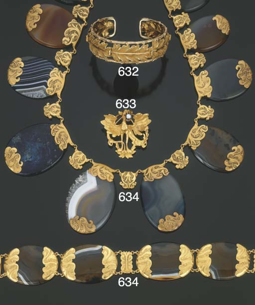 Demi parure art nouveau in oro