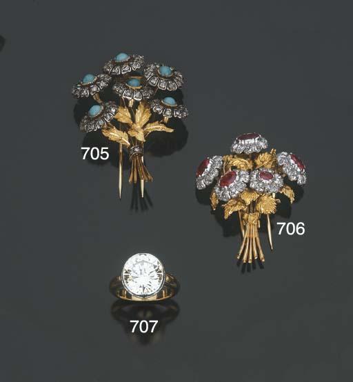 Clip in oro e argento con turc