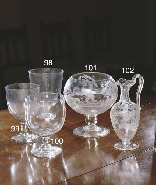 A GEORGIAN ETCHED GLASS FOOTED