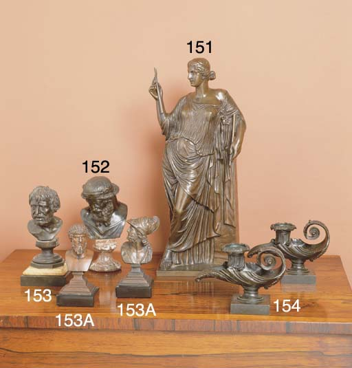 A PAIR OF BRONZED SPELTER BUST