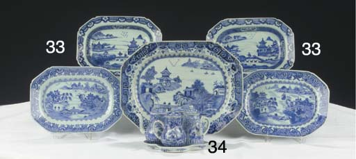 (5) A Chinese blue and white c