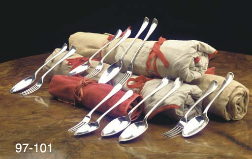 (12) Six Dutch silver table fo