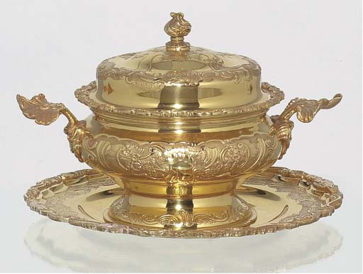 (3)  A silver-gilt tureen and