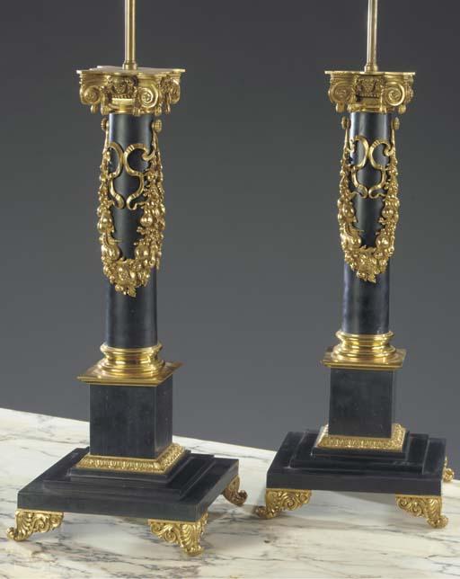 (2) A pair of gilt-metal-mount