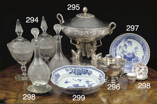 A large silver tureen with cov