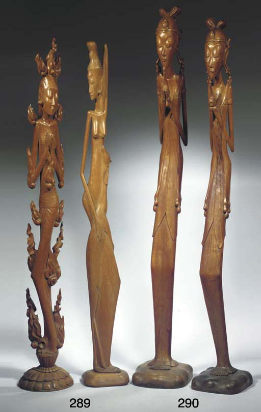 (2) two modern balinese wood f