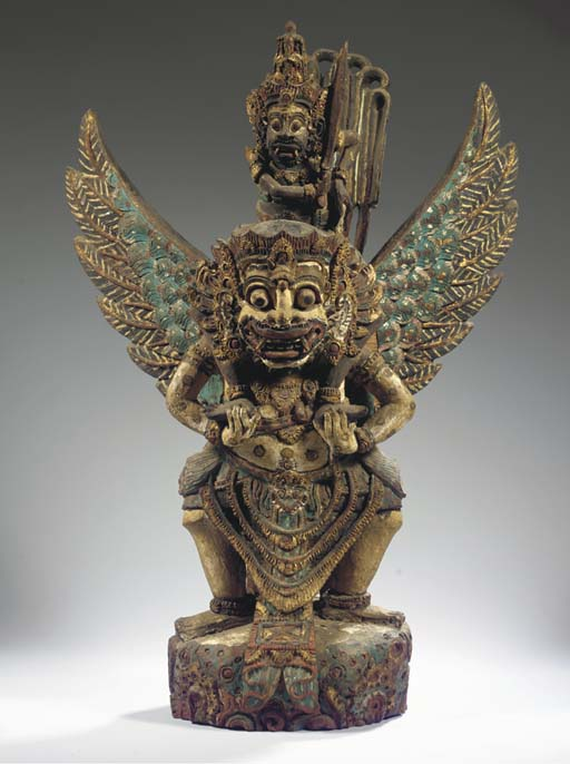 a balinese polychromed wood gr