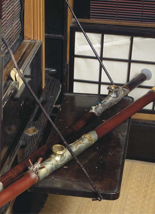 (2) Two Chinese bamboo opium p
