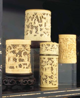 (4) Three Chinese Canton ivory