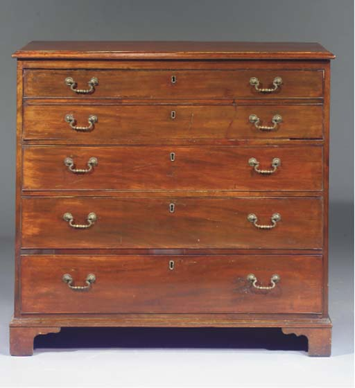 An English mahogany commode wi