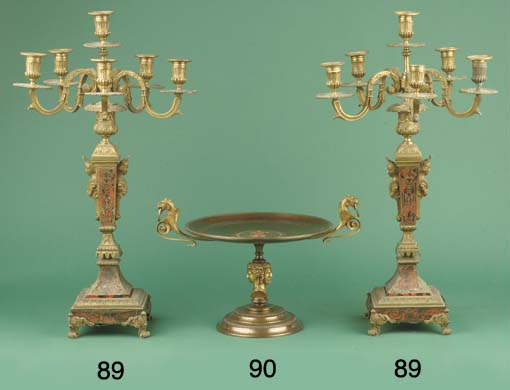 (2)  A pair of French ormolu,