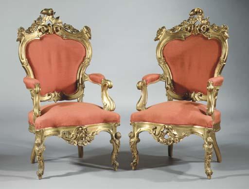 (2) A pair of Italian giltwood