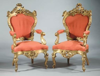 (2) A pair of Italian giltwood