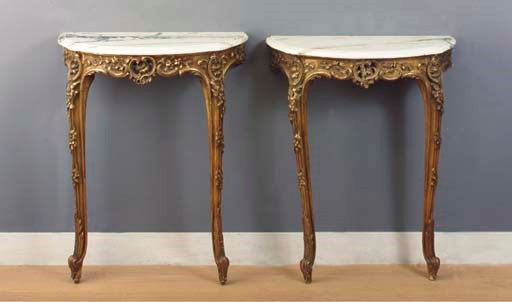(2) A pair of giltwood console