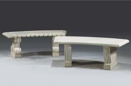 (2)  Two white marble benches