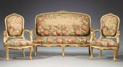 (3)  A French giltwood canape