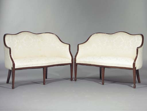(2) A pair of English mahogany