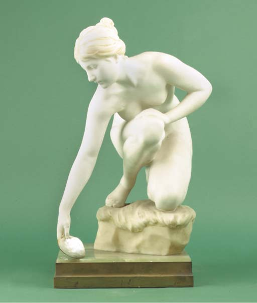 (2)  A German carved marble fi