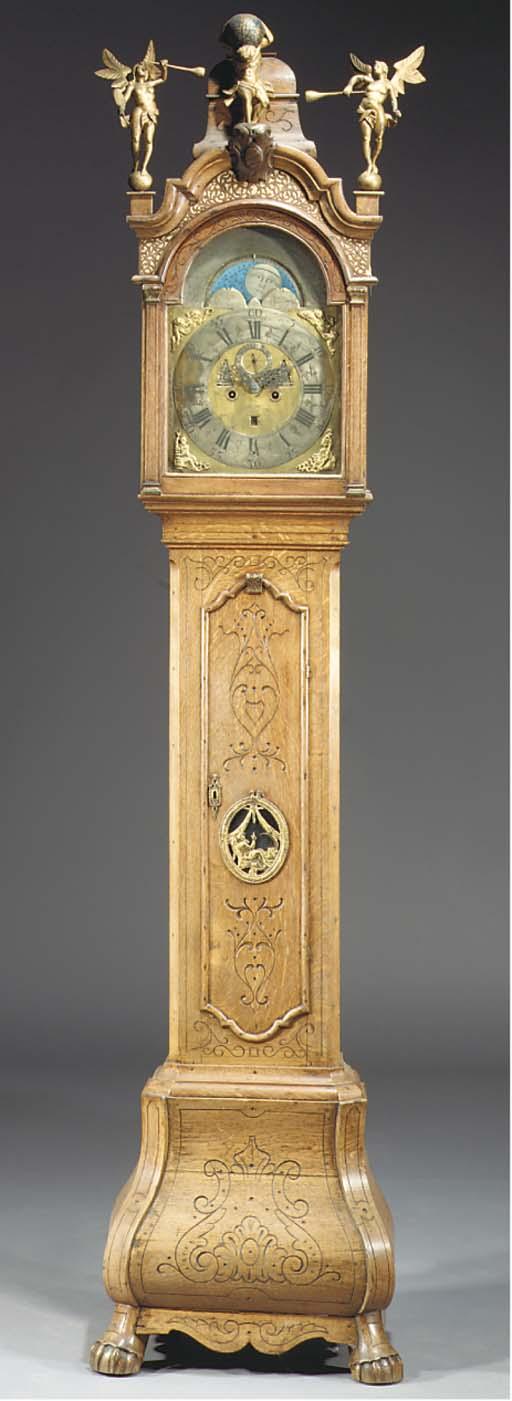 A Dutch oak longcase clock