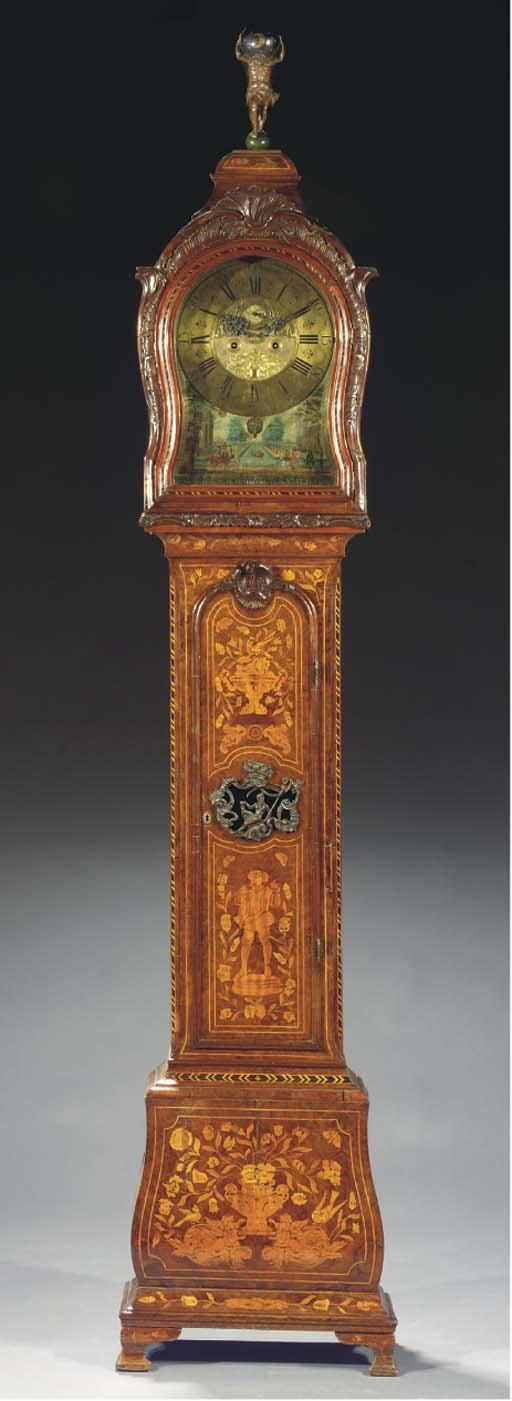 A Dutch burr-walnut, figured walnut and marquetry striking longcase clock