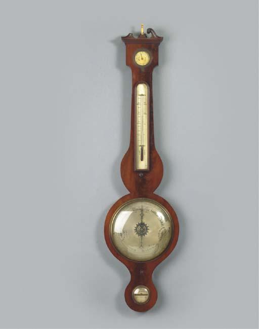 A Dutch mahogany wheel baromet