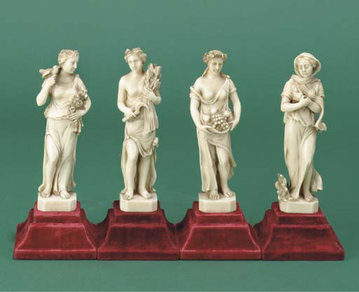 (4)  A set of four carved ivor