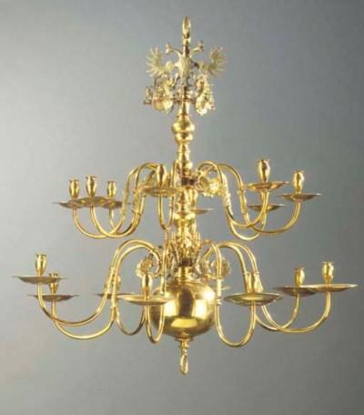 A German brass sixteen-light c