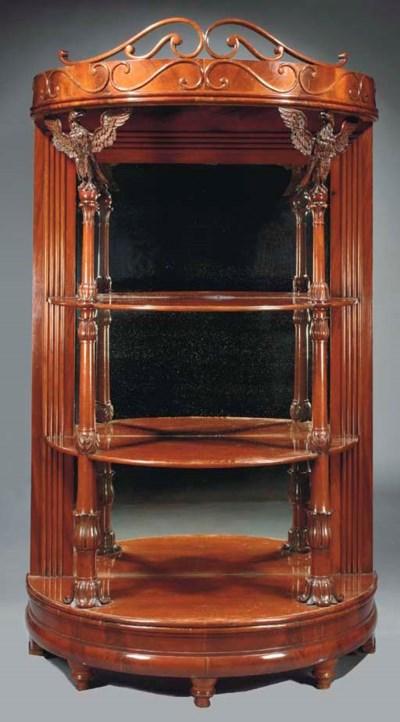 A German mahogany etagere