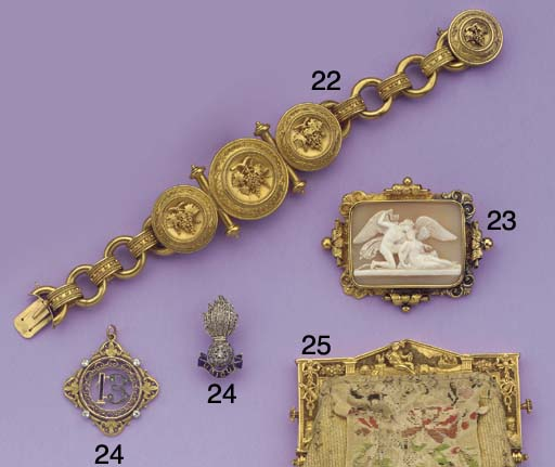 (2) A GOLD GREEK REVIVAL STYLE