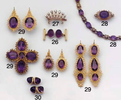 (2)  AN ANTIQUE AMETHYST AND P