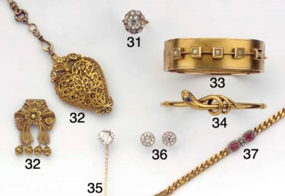 (2) AN ANTIQUE DIAMOND TIE PIN