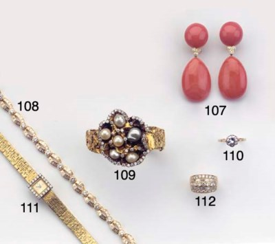(2)  A PAIR OF CORAL AND DIAMO
