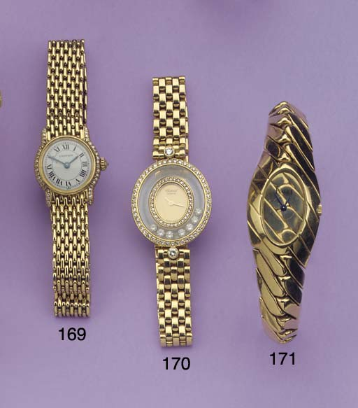(2)  A LADY'S 18K GOLD AND DIA
