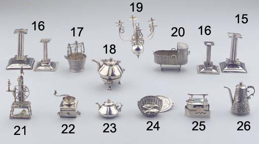 (2)  Two matched Dutch silver miniature candlesticks