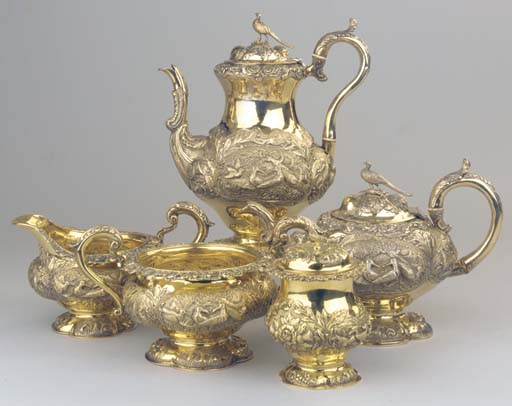 (5)  An English silver-gilt co