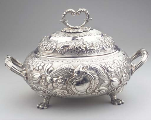(2) An English silver tureen