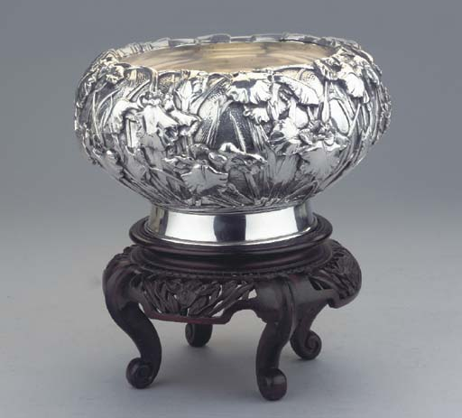 (2)  A Japanese silver bowl on