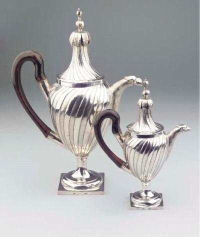 (2)  A German silver coffee-po