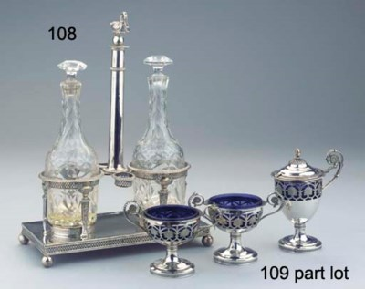 A French silver cruet-stand