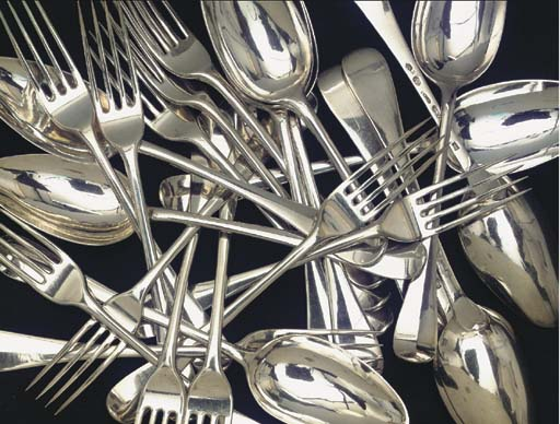(24) Twelve Dutch silver table forks and spoons