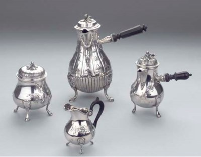 (4)  A French silver coffee-po
