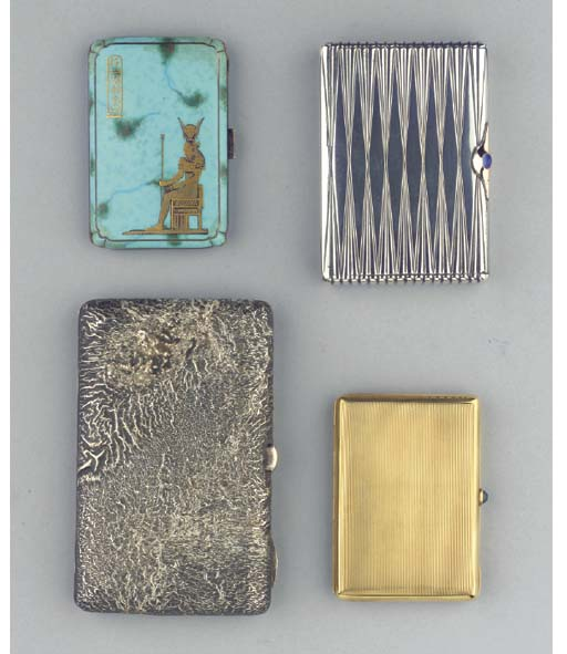 (4)  Three various silver cigarette-cases and a gold cigarette-case