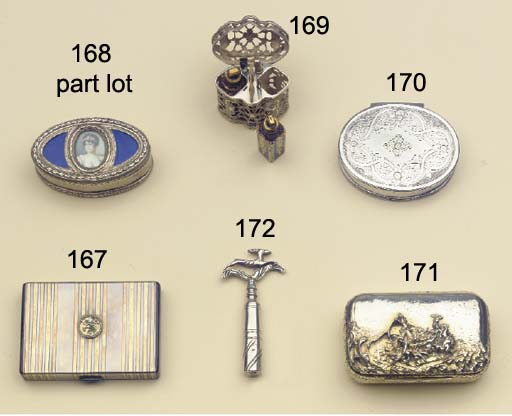A silver miniature travelling