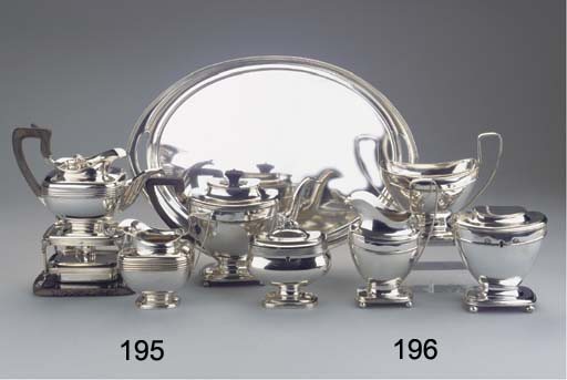 (4) A Dutch silver three-piece teaservice with matching sugar bowl