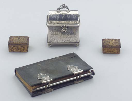 (4) A Dutch almanac, two gilt-metal snuff-boxes and a marriage casket
